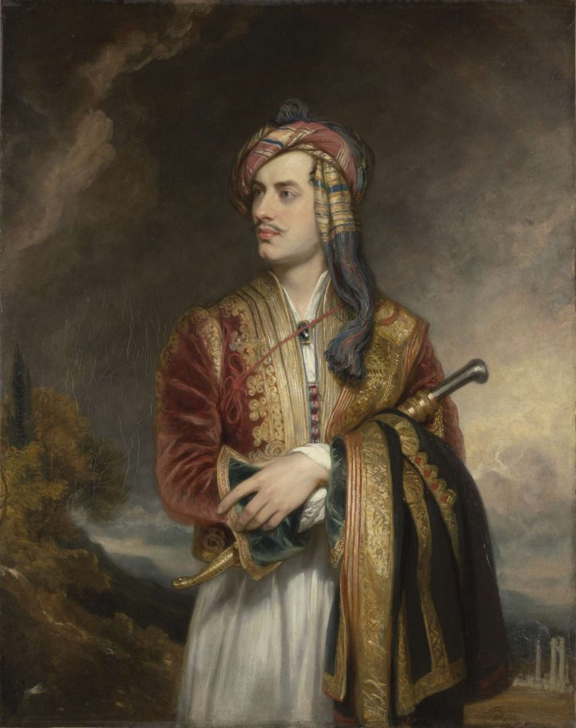 painting of a man in a Suliot costume, cloak wrapped around his arm